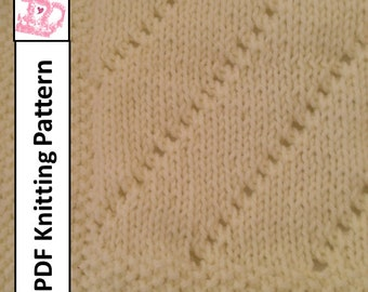 Baby Blanket Knitting Pattern, PDF Knitting Pattern - Easy Eyelet Baby Blanket/throw/afghan 28 x 36