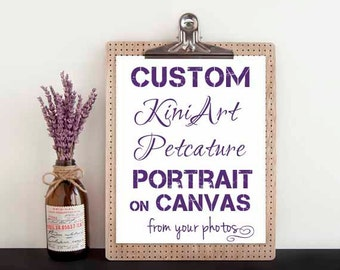 Custom Canvas PAINTING Huge KiniArt Pet Portrait