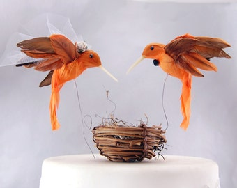 Orange Hummingbird Wedding Cake Topper: Bride & Groom Love Bird Cake Topper