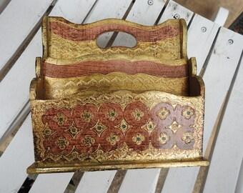 Vintage Florentine Pink Gold Wooden Carved Italian Letter Holder Italy