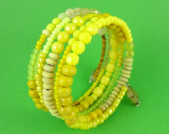 Yellow Memory Wire Bracelet - stacked coils bangle, shades of yellow, mixed beads, layered beaded look, sunny summer jewelry, boho bohemian