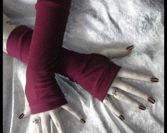 Scarlet Thing in You  Arm Warmers | Cranberry Burgundy Cotton | Yoga Gothic Dark Tribal Chic Bohemian Boho Gypsy Vampire Cycling Light Goth