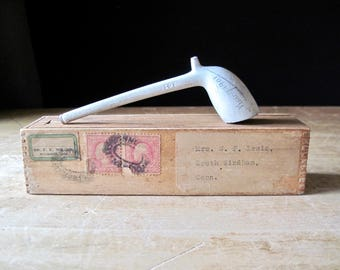 Antique Clay Pipe, White Clay Pipe, Pipe in Wooden Box, Tobacciana, Smoking Pipe, Vintage Cast Clay Pipe, Gentleman's Pipe, Gift for Him