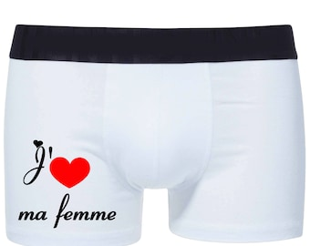 Mens stretch cotton boxer shorts I love my wife ref 21