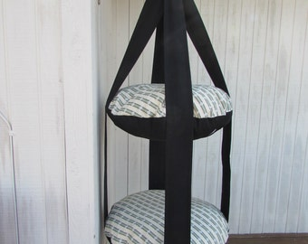 Cat Bed Sea Shell Stripe & Black Double Hanging Cat Bed, Kitty Cloud, Pet Furniture, Pet Gift