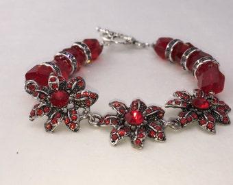 Floral Red Bracelet