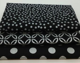 FINAL FRIDAY SALE - 3 Yard Bundle of Metallic Silver on Black Glitz Fabrics from Michael Miller Fabrics