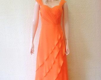 Orange Bridesmaid Dress. Orange Prom Dress. Maxi Dress.