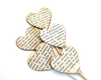 Valentine's Day Decor, Vintage French Text Heart Cupcake Toppers, Food Picks, Party Decor,  Weddings, Showers, Set of 15