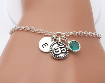 Om Bracelet, personalised Ohm, birthstone and initial bracelet, buddhist yoga jewellery