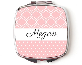 Custom Bridesmaids Gifts - Personalized Compact Mirror - Blush Wedding - Personalized Bridesmaids Gifts