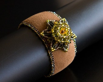 Bronze Brown Bead Embroidered Cuff with Swarovski Crystals Flower Focal in Olive Green and Topaz. Crystal Bracelet. Statement Cuff S146