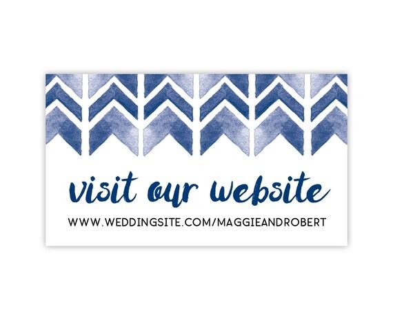 Wedding Website Cards, Enclosure Cards, Registry Cards, Printed Invitation Insert, Navy Watercolor Geometric Chevron, 20 Pieces Per Order