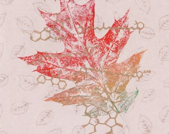 Oak Leaf Colour Chemistry Print and Linocut, Leaf Print, Lino Block Print Organic Molecules and Multicoloured Oak Leaf Print