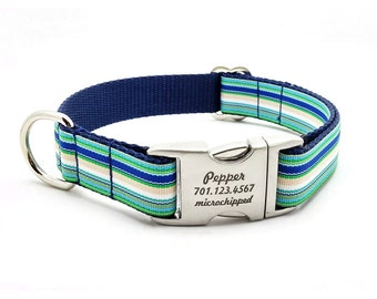 Coastal Cabana Stripe Dog Collar with Laser Engraved Personalized Buckle