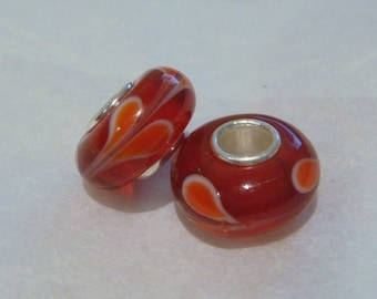 Red love heart swirl 925 silver core large hole beads