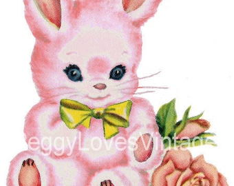 Pink Bunny with Yellow Bow Digital Image from Vintage Greeting Cards - Instant Download