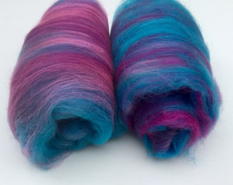 Merino silk spinning batts-blue pink purple