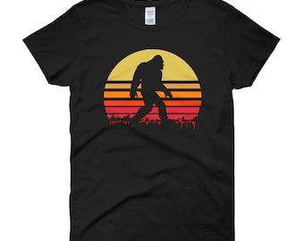Retro Bigfoot T Shirt   Sasquatch Tee   Women's short sleeve t-shirt