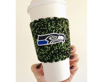 Seahawks Black & Green Coffee Cozy | Seattle Seahawks | Reusable Coffee Cozy | Knitted Coffee Cozy