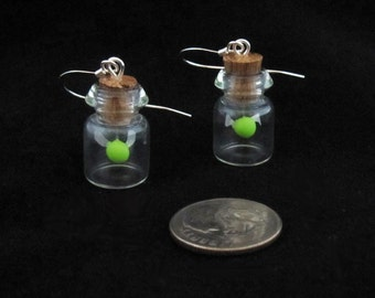 Green Glow in the Dark Fairy Bottle Earrings Legend of Zelda