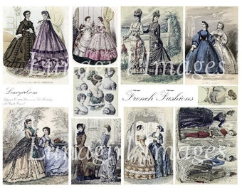 FRENCH FASHIONS digital collage sheet vintage images women ladies antique Paris magazine illustrations dresses altered art ephemera DOWNLOAD