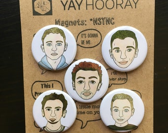 NSYNC,  Justin Timberlake, pin button badges, magnets hand drawn illustrations, JC Chasez, Chris Kirkpatrick, Lance Bass, Joey Fatone,