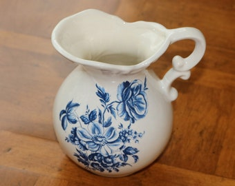 Vintage Blue and White Floral Pottery Creamer, Cottage Chic Creamer, Ceramic Creamer