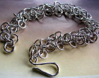 Heavy Solid Sterling Silver Chain Bracelet, Handmade Jewelry, Chainmaille Bracelet