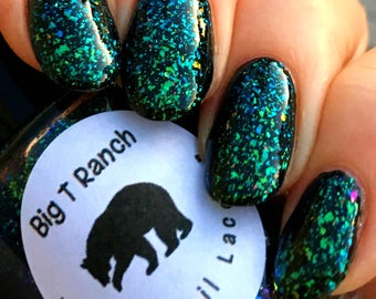 Multichrome Flakie Topcoat - Barcelona Sea - Multi-Color Shifting Polish:Custom-Blended Glitter Nail Polish/Indie Lacquer