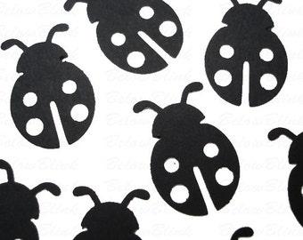 25 Black Ladybug Confetti, 1st Birthday Party Supplies - No281