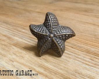 Antique Bronze Beach Starfish Knob - Oil Rubbed Bronze Sea Star Drawer Pull - Beach Theme - Nautical Nursery decor