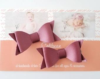 Set of 2 Baby Hair Bows, Mauve Hair Bows, Mauve Hair Clips, Mini Leather Bows, Infant Hair Bows, Pink Hair Bows, Girls Hair Clips