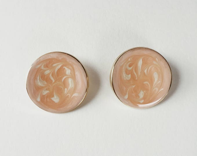 vintage marbled pink circle earrings | vintage hoops | pierced earrings | statement earrings | 90s earrings | Able Shoppe