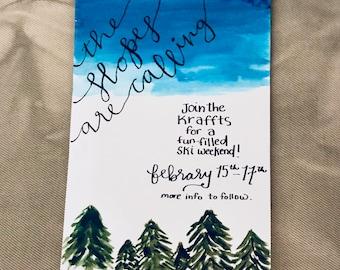 Watercolor Forest Invitation. Pine tree invitations
