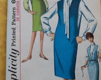 Simplicity 5482 Vintage Pattern - Misses Sz 14 Bust 34 Jumper Dress Blouse 1964