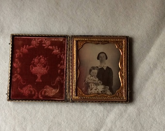 Antique Ambrotype - Daguerreotype-Old Family Photos-Mother and Child Image