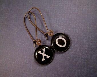 Kiss and Hug Earrings, X and O Cabochon Earrings, Brass Dangle Earrings, FREE Shipping U.S.