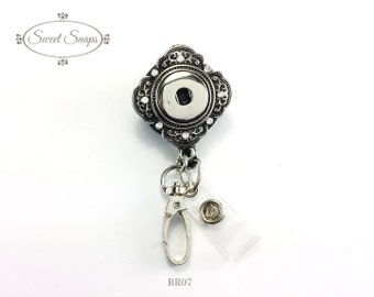 Badge Reel ID holder, retractable badge holder, interchangeable snap on jewelry (BR07)