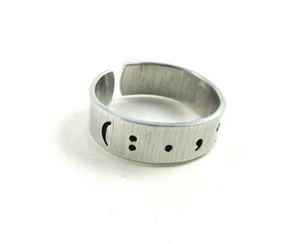 Writer Jewelry (Punctuation Ring with Question Mark, Exclamation Point, Etc. for Writer, Editor, Teacher)