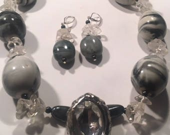 Handcrafted Large Ceramic Black Grey Marble Design Oval Beads Clear Cystal Hematite Gemstone Necklace Eearring