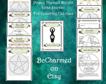Pagan planner,Calorie counting,journal,digital download, weight loss journal,tracker, chart,weight loss spell,PDF journal,BOS journal,weight