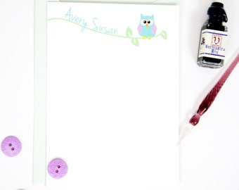 Owl stationery set, owl note cards, personalized stationery, owl notecards, owl stationary, stationary for kids, baby stationery, baby gift