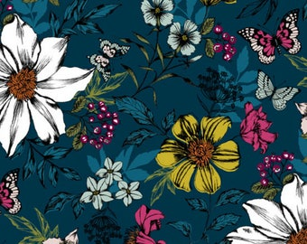Exotic Floral Blue - Botanica - Makover UK The Henley Studio - Andover Fabric - 100% Quilters Cotton A-7865-CE