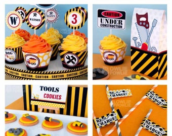 Construction BIRTHDAY Party Printable Package & Invitation, INSTANT DOWNLOAD, You Edit Yourself with Adobe Reader