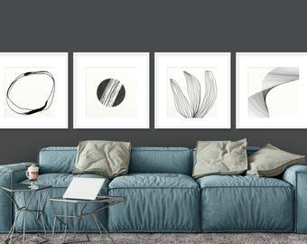Set of 4 Prints, Abstract Art Print Set, 4 Abstract Prints, Black and White art, Printable Abstract, Minimalist Art set, 20x20 Print sets