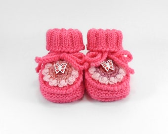 Hand Knitted Baby Booties with Crochet Flower - Pink, 6 - 9 months