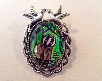 Badger wood brooch