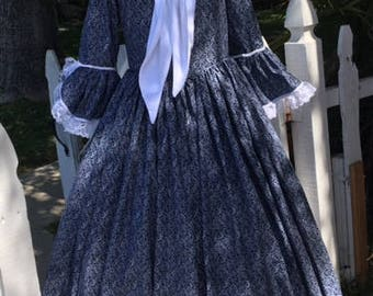 DAR revolutionary war gown colonial  made to your measurements choice of print & color plus size