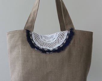 "Beach Boho ""Hohokams"" bag. Linen / stripe blue"